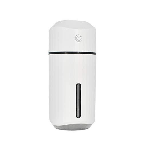 Bordied 320 ml Copa de humidificador de Coche ultrasónico USB Difusor de Aroma a Aire purificante hidratación con 7 Colores de luz de Noche Humidificadores (Color : White)