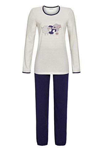 Ringella Damen Pyjama mit Schäfchen-Motiv Silber 42 0511203, Silber, 42