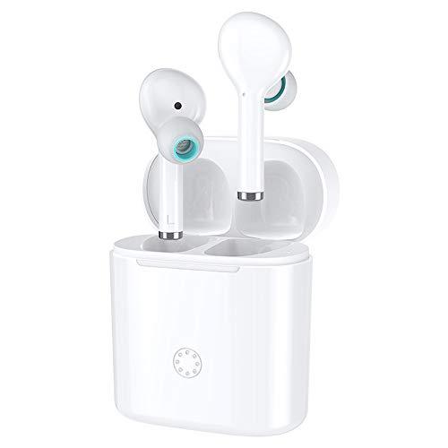Huainiu BTS-139 TWS KopfhöRer Bluetooth Kabellos, OhrhöRer Mit Mikrofon Ergonomisch, GeräUschunterdrüCkung KopfhöRer In Ears Kabellos Headset Mit Ladebox Joggen (Weiß)
