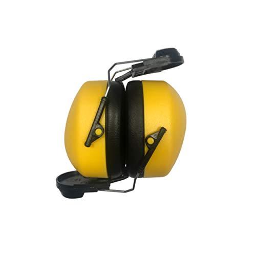 Kapselgehörschutz für Helm in gelb | Geräuschdämmung bis 25.9 db | mit integrierter Helmhalterung | Helmkapsel | Steckbefestigung für Helme | hoher