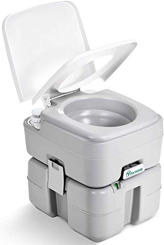 YITAHOME Portable Toilet 5.3 Gallon,Travel RV Potty with Level Indicator,T-Type Water Outlets,Anti-Leak Handle Water Pump,Rotating Spout,for Camping, Boating,Hiking,Trips