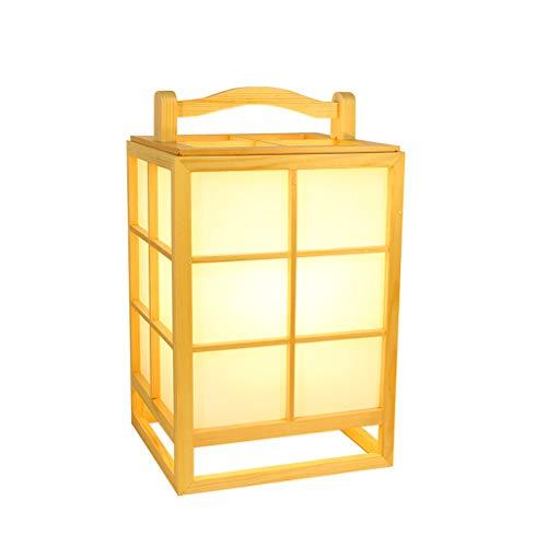 L¨¢mpara de mesa de estilo japon¨¦s, l¨¢mpara de cama de tatami creativa de madera, l¨¢mpara port¨¢til de la sala de estar del hogar moderno l¨¢mpara de lectura de escritorio LED(21x35cm)