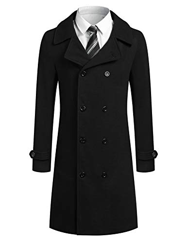 JINIDU Men Trench Coat Wool Blend Double Breasted Winter Classic Long Pea Coat (Black, Small)