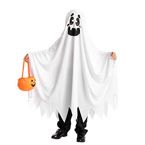 Ghost Boo and Friendly Costume for Child Halloween Spooky Trick-or-Treating (5-7 yr) White