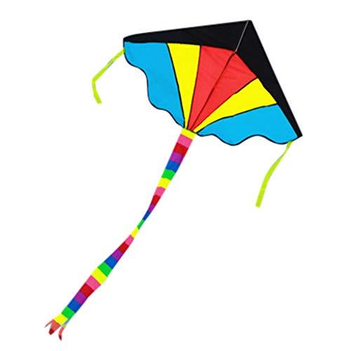 FBGood Regenbogen Drachen, Langer Schwanz Dreieck Drachenflieger Flugdrachen Outdoor Strand Kite Fliegen Spielzeug für Kinder und Erwachsene mit 30m Drachenschnur und Streifenschwänze