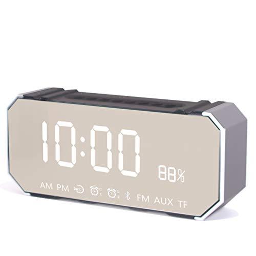 Despertador clásico Reloj despertador Mute pequeño con altavoz Bluetooth, altavoz Bluetooth inalámbrico, reloj electrónico de pistola de acero pequeño, reloj inteligente para estudiantes Despe