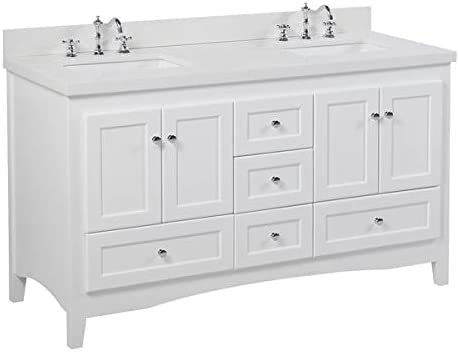 Amazon Com Abbey 60 Inch Double Bathroom Vanity Quartz White Includes White Cabinet With Stunning Quartz Countertop And White Ceramic Sinks Home Improvement