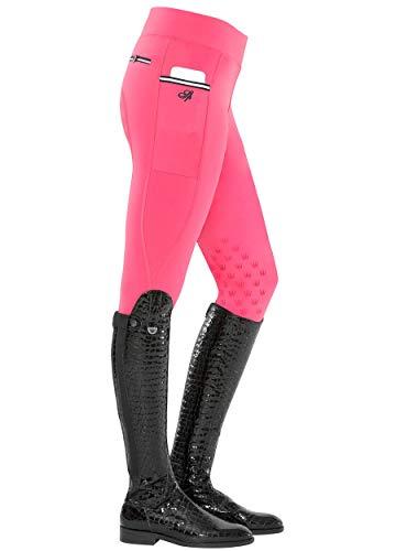 SPOOKS Damen Reitleggins Reithose Kniebesatz, Damenreithose Reithosen Turnierreithose Kniebesatzreithose - Sanne Knee Grip Leggins - pink XS