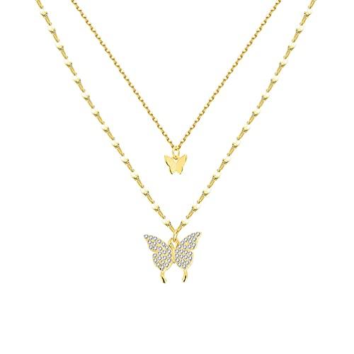 Collar De Mariposa De Doble Capa,Con Incrustaciones De Circonita CúBica Brillante,Collar De Moda Ajustable,Delicado Y Elegante,Damas/NiñAs,17 Pulgadas.