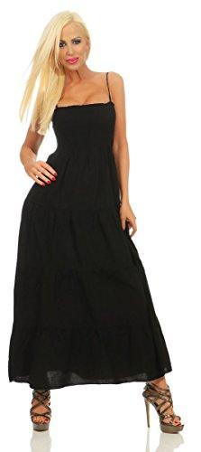 Fashion4Young 3989 Damen Maxikleid Gesmoktes Oberteil Stufenrock Sommerleid Baumwollkleid Partykleid (schwarz, M-36)
