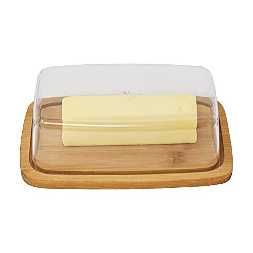 Beurrier Bambou, Beurrier Avec Couvercle, Beurrier Kitchen, Beurrier Verre Transparent Avec Couvercle, Beurrier Verre Haute Qualité, pour Réfrigérateurs de Cuisine