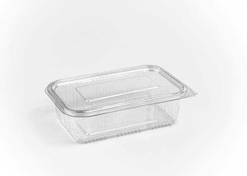 Paquete de 100 recipientes de 750 ml para ensalada, con bisagras redondas, para comida rápida, desechables, transparentes, tapas de plástico, almacenamiento
