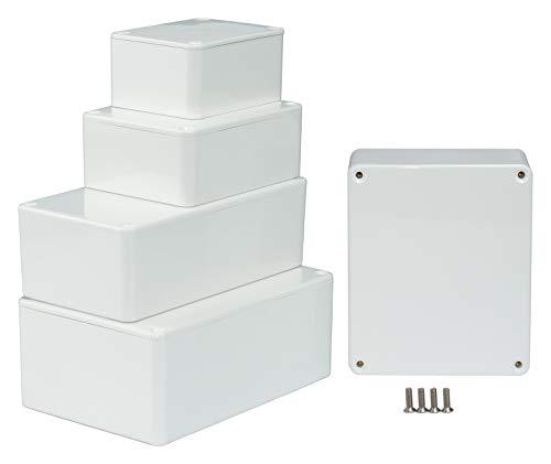 MB1W - ABS Kunststoffgehäuse mit Deckel, Mehrzweckgehäuse, Modulgehäuse, (LxBxH) 80 x 62 x 40 mm, mit Leiterplattenführung, Weiß - Poliert