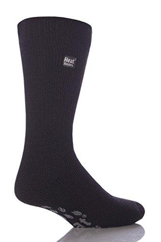 1 paire Homme d'origine thermique hiver chaud Heat Holders Chaussons chaussettes Taille 6–11 UK, 39–45 EUR Noir avec coussinets Gris