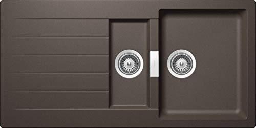 SCHOCK Küchenspüle 100 x 50 cm Primus D-150 Inca - CRISTALITE goldbraune Granitspüle mit 1 ½ Becken ab 60 cm Unterschrank-Breite