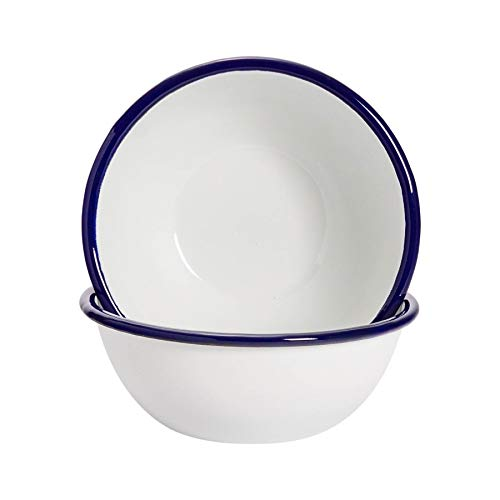 "Argon Tableware Premium White Enamel Cereal Bowls - 155mm / 6"" - Blue Trim - Pack of 2"