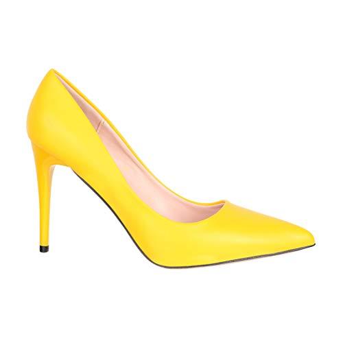 Elara Damen Pumps Spitz High Heels Stiletto Chunkyrayan B0-110 Yellow-40