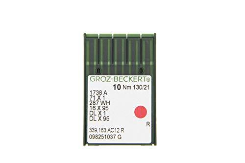 GROZ-BECKERT Paquete de 10 agujas DBx1 con pistón redondo y punta redonda para máquinas de coser industriales (Nm. 130/21)