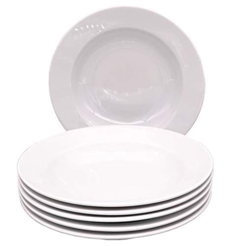Kahla 57G112A90057C Pronto Geschirr Teller-Set Porzellan Teller 6 teilig Suppenteller 6 Person Tiefe Teller rund weiß Pastateller ohne Dekor