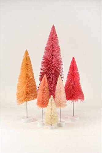 Cody Foster Pink Rainbow Hue Christmas Village Bottle Brush Trees Set of 6