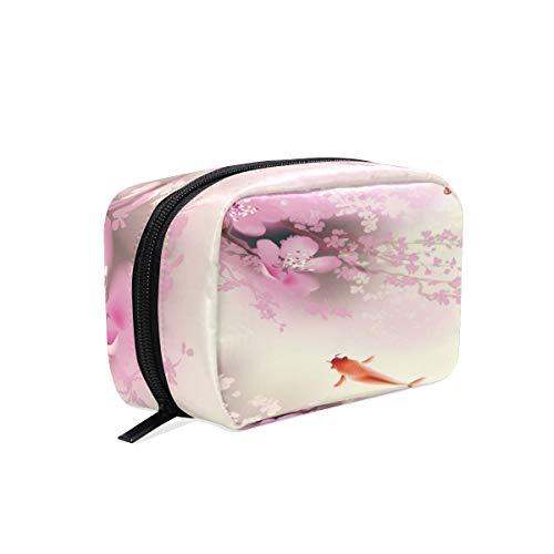 Mnsruu Trousse de maquillage portable Motif carpes koï Cerisier en fleurs de cerisier