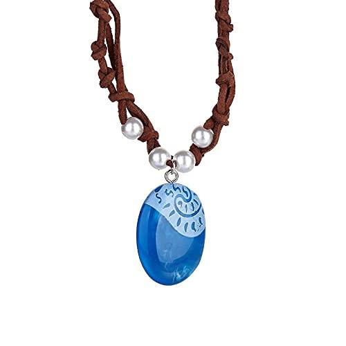 Romántico Azul Piedra Luminosa Colgante Collar Polinesio Océano Princesa Moana Cuerda Cadena Collar Señora Joyería De Moda Femenina