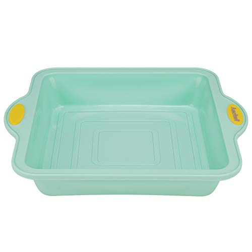 Silicone Square Cake Pan 10 inch, Non-Stick Food Grade Baking Bakeware Brownie Mold, with Handle & Built-in metal Frame BPA Free, Oven Dishwasher & Microwave Safe easy to clean