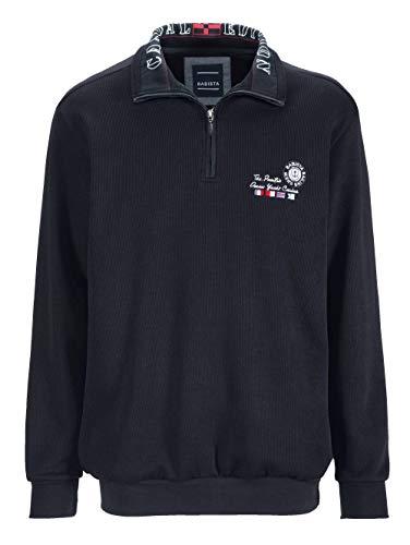 BABISTA Herren-Sweatshirt – Freizeit-Pullover aus Reiner Baumwolle, Regular Fit Langarm-Pulli mit Druck im Kragen, Troyer in Marineblau, Gr. 52