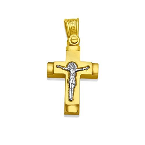 Kreuz-Anhänger Massiv Gold 585 Gelbgold Weissgold Bicolor 14 Karat Korpus Goldkreuz Goldanhänger- Herren 19mm x 13,5mm (14 Karat (585) Bicolor)