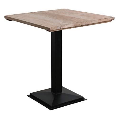 Atypik Home Table Haute en Bois Ancien Brun rosé sur Un Pied en Fer forgé
