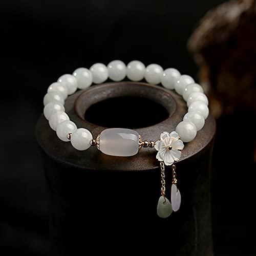 PPuujia Pulsera de jade natural esmeralda ágata pulsera ajustable encanto joyería Yoga gota de agua Shell flor colgante pulsera mujer