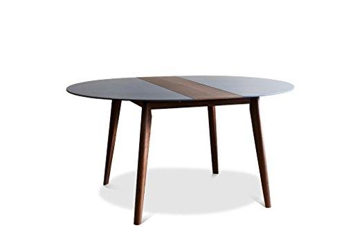 Cristina uitschuifbare vintage tafel - Massief hout, Gelakte afwerking, Notenhout | Elegant, kleurrijk en verstelbaar - Notebruin (L120 x H75 x P120 cm)