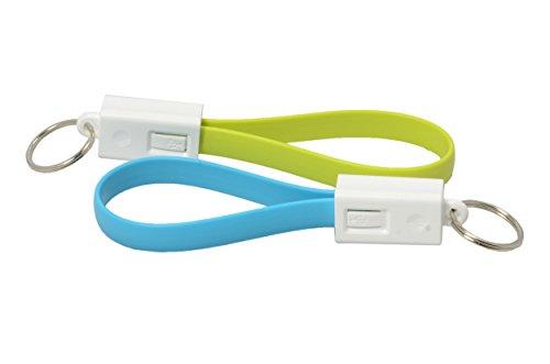 2x Premium Micro USB Kabel auf USB bunt als Schlüsselanhänger. Ladekabel / Datenkabel. 2A-fähig. A-Stecker auf Micro-B-Stecker. High Speed USB 2.0 Flachkabel für Samsung Galaxy S5 S6 S7Edge Tab 4 in blau und grün