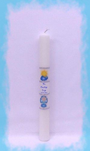 Desconocido Vela (CIRIO) para Bautizo DE Cera Blanca. Medida 3 x 30CM Decorada con LOS Dibujos: Nube Y Cruz BEBÉ Azul (30CM Personalizada)