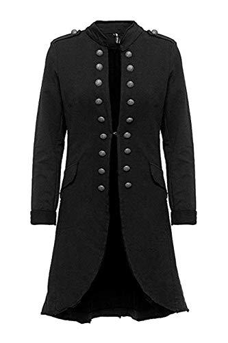 Eitex Damen Blazer Damenjacke Military Knöpfe Gr- 34/36 bis 48/50 Military Army Style Uniform Mantel mit Military Knopfleiste Lang und kurz Slim Fit (lang schwarz, 48/50)