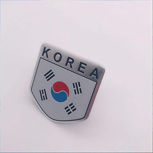 HHF - Adesivi per auto, 10 pezzi, con bandiera nazionale, sottile in alluminio, con stemma cromato, per auto universali (colore scudo)
