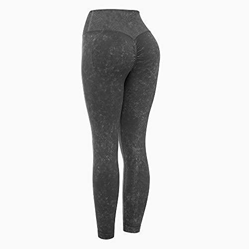MLLM Leggings No Transparenta de Yoga Mujer,Pantalones de Yoga de Lavado con Agua Retro, Pantalones de Fitness Pantalones de Ejercicio elásticos-Negro_L,Pantalones de Entrenamiento