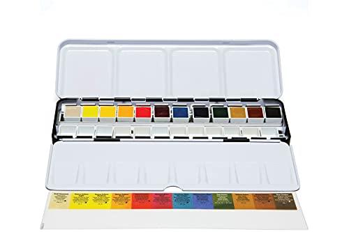 Daniel Smith Extra Fine Watercolor Half Pan Set, 12 colors with bonus 12 empty half pans in a metal box (285650107)