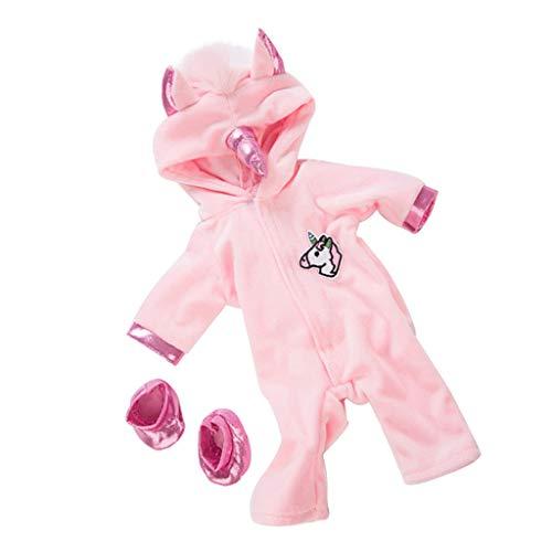 F Fityle Pijamas de Muñeca Azul / Rosa de 18 Pulgadas, Conjunto de Mono de Unicornio, Trajes de Vestir para Bricolaje - Rosado