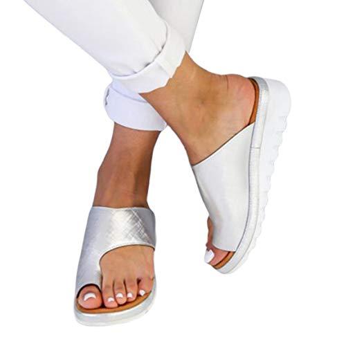 Sandalias de Verano para Mujer Zapatillas de Fondo Plano de Espuma Ligera Sandalias de Media Punta de Fondo Grueso Sandalias de Dedo del pie para Mujer de Color sólido - Plata - 37