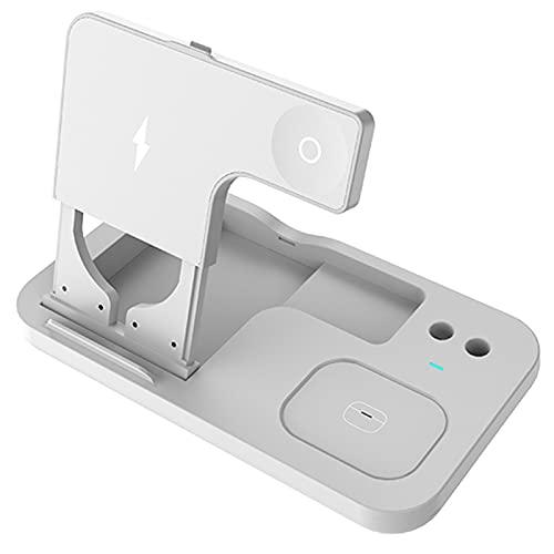 LTLJX Cargador Inalámbrico, 7.5 W Cargador Doméstico 3 en 1 para iPhone 12/12 Pro/11/XR/XS/8 Plus,10W Samsung, Soporte de Carga Inalámbrico para Apple Watch, Pencil Gen 1 y AirPods Pro,Blanco