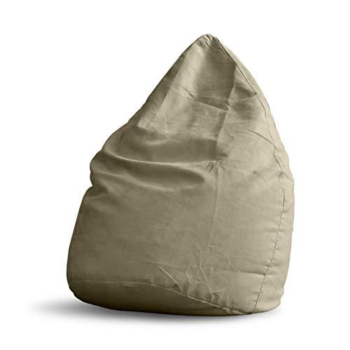 Lumaland Pouf Poire XL 220 L - Ligne Confort - Fauteuil Poire Adulte et Enfant pour Salon - 65 x 80 cm - Bean Bag Pouf Intérieur avec Coutures Solides - Beige