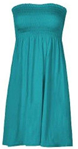 My Fashion Store Damen Midi-Kleid, elastisch, Sherring, Sharing Boobtube Bandeau-Sommerkleid, Größe 36-54 Gr. 42/44, türkis