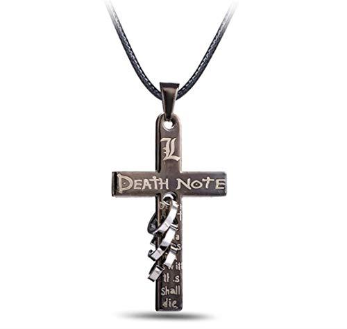 VAWAA Hot Anime Death Note Black Gold Metal Halskreuz Logo Pendant Cosplay Accessoires Frauen Männer Schmuck Halsketten & Pendants