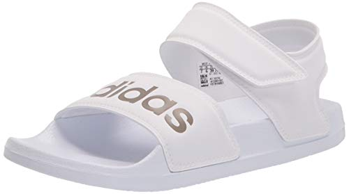adidas Women's Adilette Sandals Slide, White/Champagne Metallic/White, 5