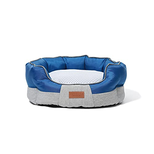 Yotruth Small Dog Cooling Bed & Cat Cooling Bed, Round Pet Beds for Indoor Cats or Small Dogs, Round Easy Clean Soft Scratch-Resistant& Mesh Fabric Pet Supplies, Slip-Resistant Oxford Bottom, Blue
