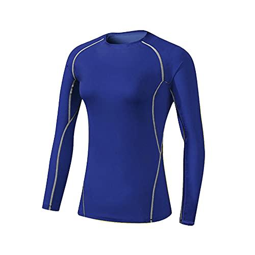 HZQIFEI Camiseta de Compresión de Mangas Largas para Mujer Top Deportivos Secado Rápido para Gimnasio Correr Pilates Jogging (Azul, L)