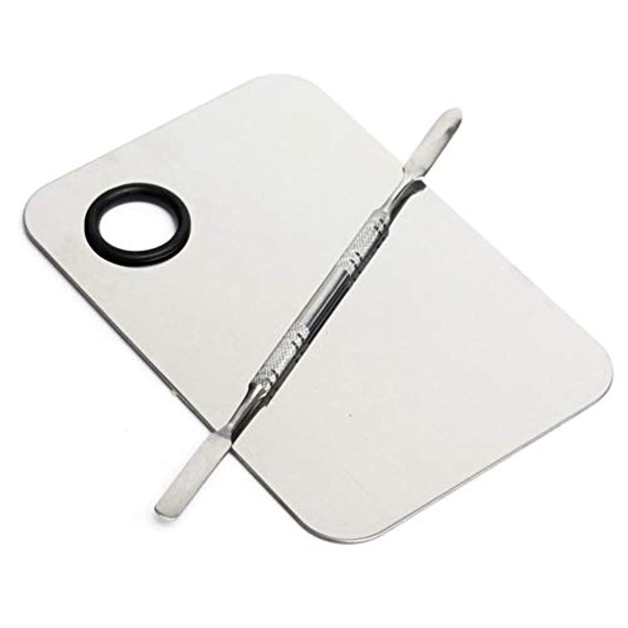 祝う賭けキーステンレス鋼化粧品化粧パレットプレート調整リキッドファンデーション混合メイクアップツール - シルバー