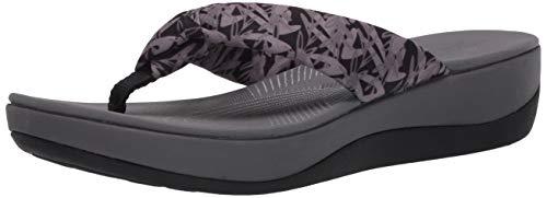 Clarks Women's Arla Glison Flip-Flop, Black/Grey Floral Textile, 100 M US