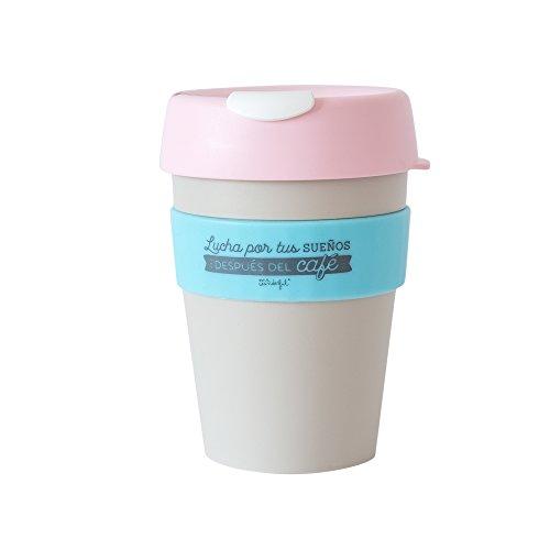 Mr. Wonderful Taza reutilizable KeepCup Lucha por tus sueños después del café, mediana